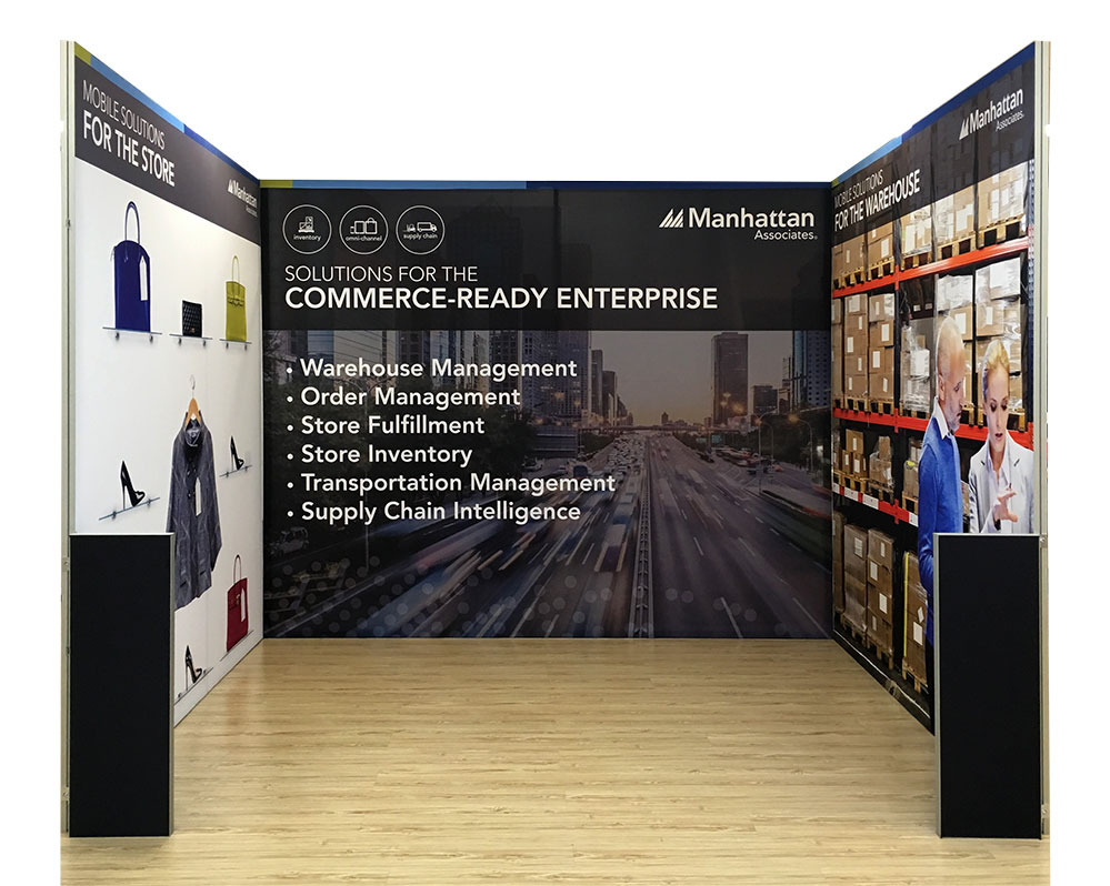 TexFrame Fabric Graphics Displays for 3x3 booth with fins for free standing
