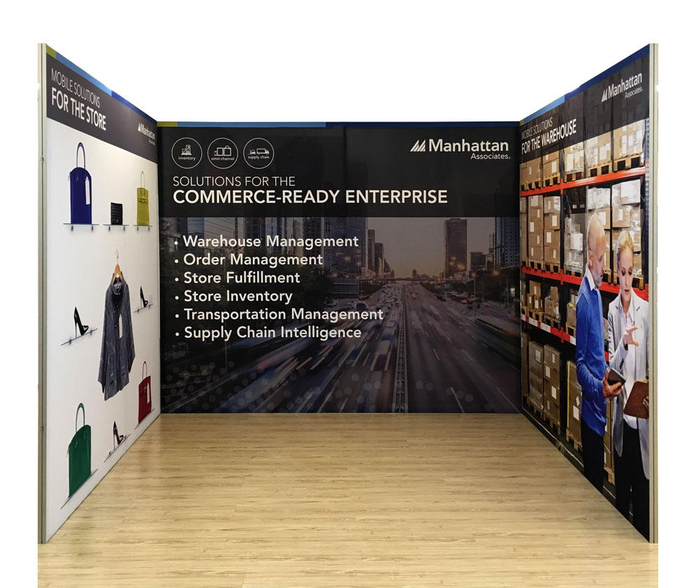 TexFrame Fabric Graphics displays for 3x3 booth